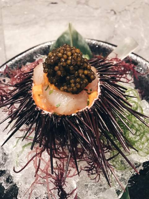 Waku Ghin_Marinated Botan Shrimp with Sea Urchin & Oscietra Caviar